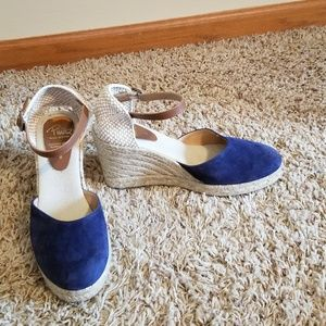 Pima2 Navy Leather Espadrilles Wedge Shoes 8